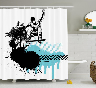 Young Boy Skater Exotic Shower Curtain