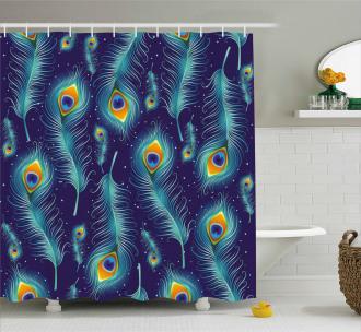 Peacock Bird Feathers Shower Curtain