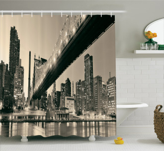 NYC Night Bridge View Shower Curtain