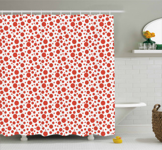 Polka Dots on White Back Shower Curtain