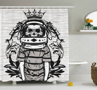 Skull Astronaut Man Shower Curtain