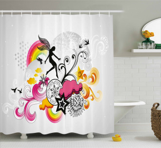 Fairy Birds and Flowers Shower Curtain