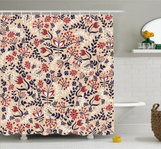 Abstract Blossoms Leaves Shower Curtain
