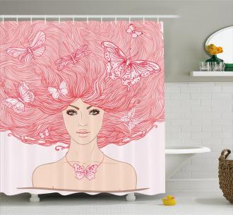 Girl Butterflies Sketch Shower Curtain