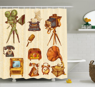Retro Old Technology Shower Curtain