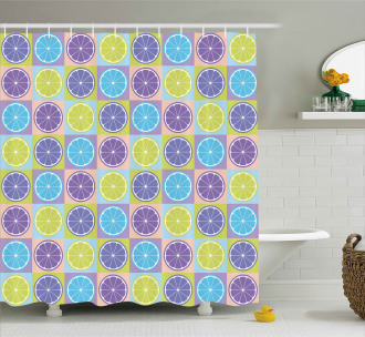 Lemon Pattern Citrus Shower Curtain