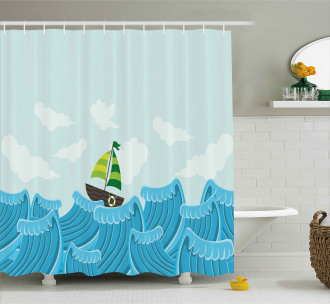 Sailing Boat on the Sea Shower Curtain