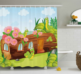 Worms in Wooden Tree Shower Curtain