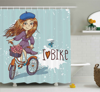 Cartoon Girl with Bike Shower Curtain