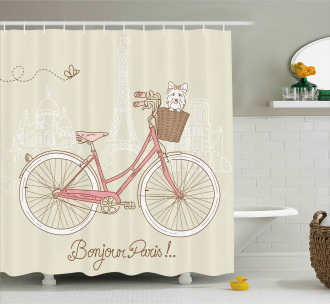 Postcard from Paris Bicycle Shower Curtain