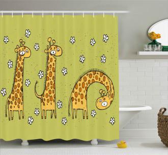 Illustration of Giraffes Shower Curtain