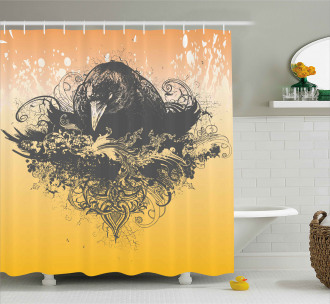 Wicked Crow and Flowers Shower Curtain