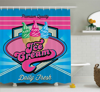 Ice Cream Illustration Shower Curtain