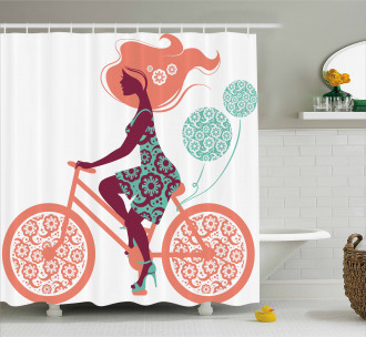 Coral Flowers Bikes Girl Shower Curtain