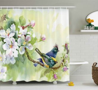 Watercolor Birds Spring Shower Curtain