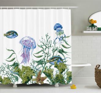 Seaweed Jellyfish Fish Shower Curtain