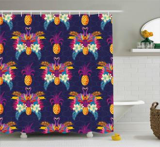 Vivid Flowers Pineapples Shower Curtain