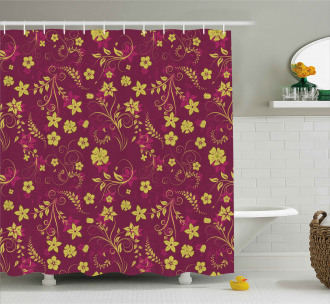 Spring Flowers Pattern Shower Curtain