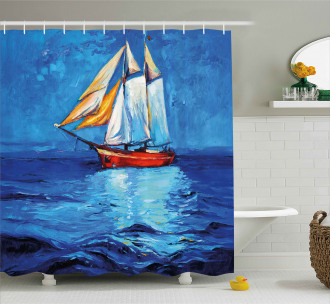 Sail Boat Art Picture Shower Curtain