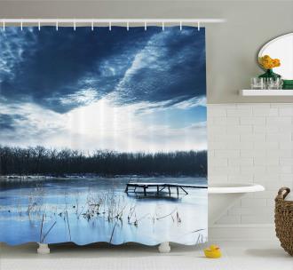 Blue Mountain Lake Scene Shower Curtain