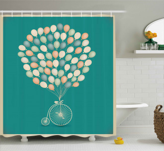 Retro Bike with Baloons Shower Curtain