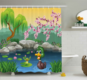 Duck and Frog in a Lake Shower Curtain