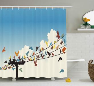 Animals Bird Silhouettes Shower Curtain