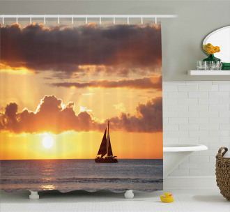 Boat in Sea with Sunset Shower Curtain
