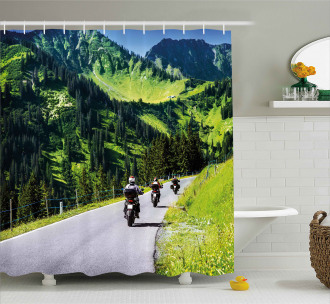 Bike Riders on Mountain Shower Curtain