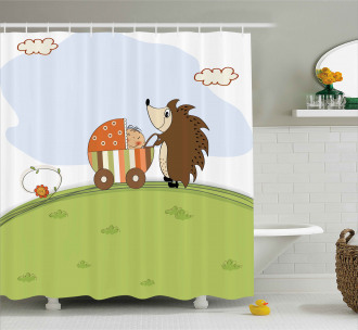 Baby Shower and Hedgehog Shower Curtain
