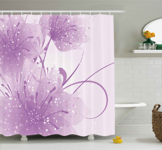 Vector Flowers Butterfly Shower Curtain