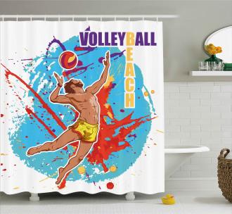 Ball in Beach Shower Curtain