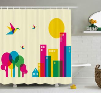 Artistic Cityscape Shower Curtain