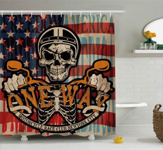 Biker Skull American Flag Shower Curtain