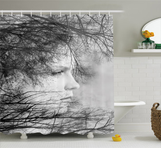 Woman and Trees Shower Curtain