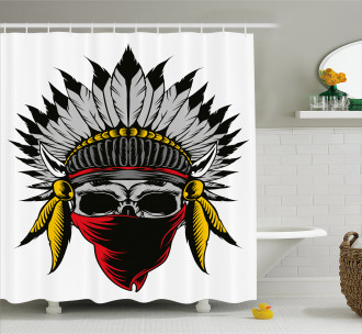 Skull with Feathers Veil Shower Curtain