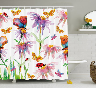 Flower Butterfly Bug Shower Curtain