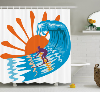 Hot Beach Vibes Surfer Shower Curtain