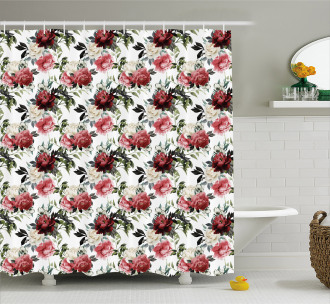 Flower Roses Buds Shower Curtain