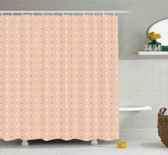 Retro Vintage Lilac Dots Shower Curtain