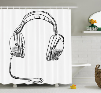 Sketchy DJ Headphones Shower Curtain