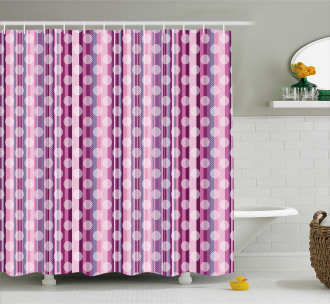 Abstract Rounds Line Shower Curtain