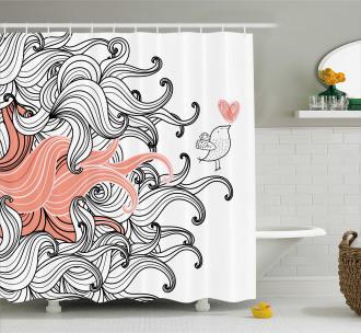 Graphic Swirls Wave Bird Shower Curtain