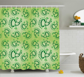 Doodle Style Alien Frogs Shower Curtain