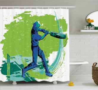 Cricket Player Pitching Shower Curtain