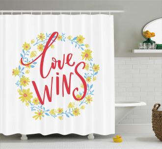 Love Wins Floral Wreath Shower Curtain
