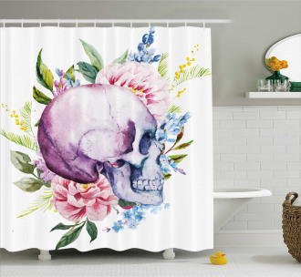 Abstract Skull Flowers Shower Curtain
