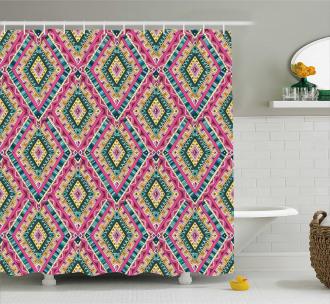 Ethnic Geometric Doodle Shower Curtain