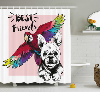 Bulldog Parrot Friends Shower Curtain