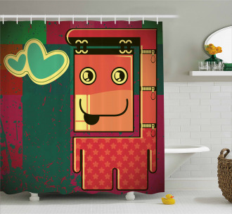 Caricature Monster Grungy Shower Curtain